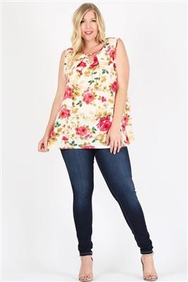 Plus Size Keyhole Sleeveless Floral Top 4070FX-PEACH FUSHIA YELLOW (6 PC)