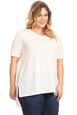 PLUS SIZE ROLLED SLEEVE V-NECK TOP 4071X-OFF-WHITE (6 PC)