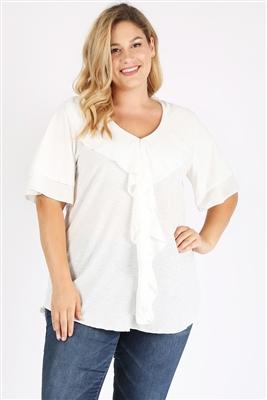 Plus Size Knit Polka Dot Ruffle Top 4076X-WHITE (6 PC)
