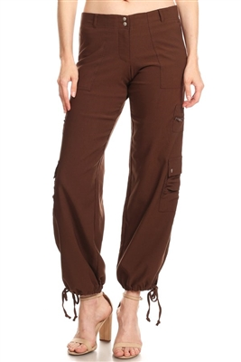 Relaxed Fit Drawstring Bottom Stretch Cargo Pants U-5407-BROWN (12 PC)