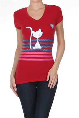 Wholesale Top V-135-RED