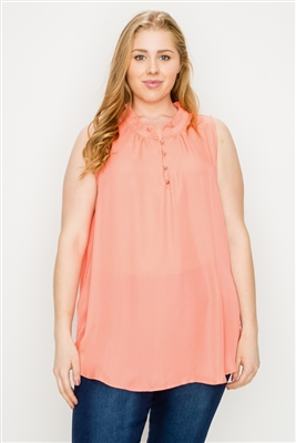 Plus size Wool-Dobby Sleeveless Top WT802X-Coral-(6 PC)