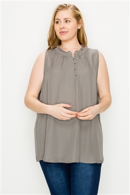Plus size Wool-Dobby Sleeveless Top WT802X-Grey-(6 PC)