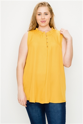 Plus size Wool-Dobby Sleeveless Top WT802X-Mustard-(6 PC)