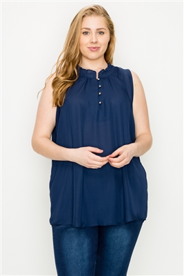 Plus size Wool-Dobby Sleeveless Top WT802X-Navy-(6 PC)