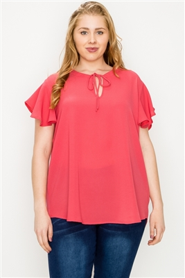 Plus size Koshibo Key-hole top WT804X-Coral-(6 PC)