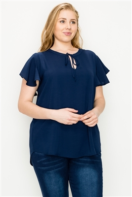 Plus size Koshibo Key-hole top WT804X-Navy-(6 PC)