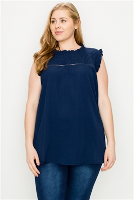 Plus size Koshibo Crochet Smocked top WT806X-Navy(6 PC)