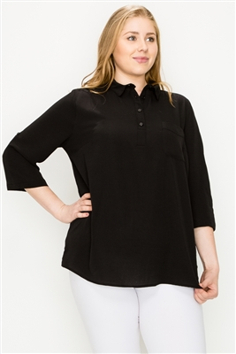 Plus size Koshibo Polo top WT808X-Black-(6 PC)