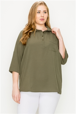 Plus size Koshibo Polo top WT808X-Olive-(6 PC)