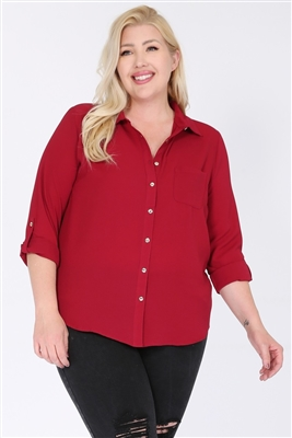 Plus size Koshibo Blouse Top WT810X-Burgundy-(6 PC)