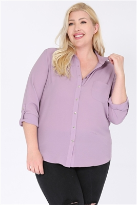 Plus size Koshibo Blouse Top WT810X-Lavender-(6 PC)