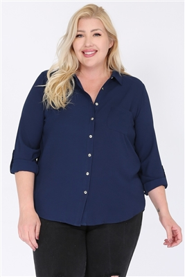 Plus size Koshibo Blouse Top WT810X-Navy-(6 PC)