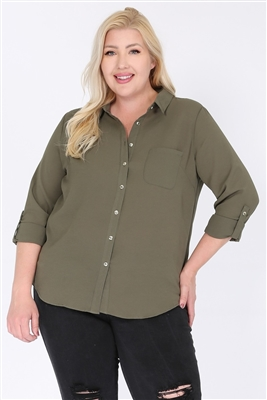 Plus size Koshibo Blouse Top WT810X-Olive-(6 PC)