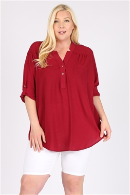 Plus size Koshibo Henley Top WT811X-Burgundy-(6 PC)