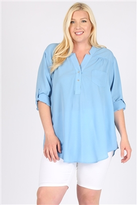 Plus size Koshibo Henley Top WT811X-Denim-(6 PC)
