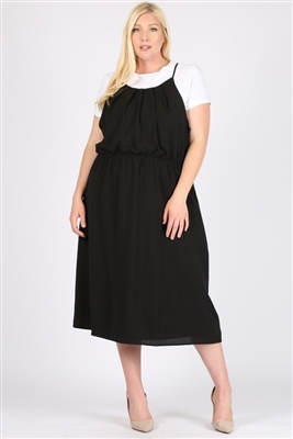 PLUS SIZE KOSHIBO MIDI-DRESSES-WT812X-Black-(6PC)