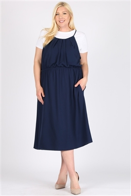 PLUS SIZE KOSHIBO MIDI-DRESSES-WT812X-NAVY-(6PC)