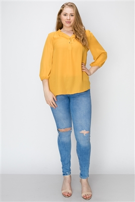 Wool Dobby Henley Plus Top WT817X-Mustard-(6 PC)
