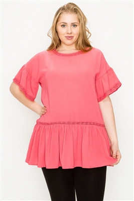 Plus size Koshibo Crochet Ruffled top WT820X-Coral(6 PC)