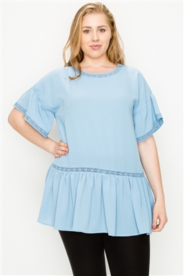 Plus size Koshibo Crochet Ruffled top WT820X-Denim-Blue(6 PC)