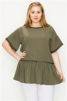 Plus size Koshibo Crochet Ruffled top WT820X-Olive(6 PC)
